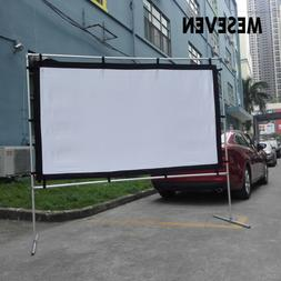 "100""120"" White Canvas HD Projector Screen Film with Stand Ba"
