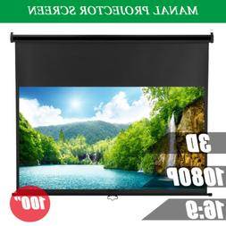 100'' 16:9 Manual 1080P 3D DTV Video TV Projection Screen Pr