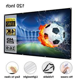 """100"""" & 120'' Portable Foldable Projector Screen 16:9 HD Home"""
