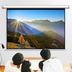"100"" Pull Down Projector Screen Meeting Room Home Theater HD"