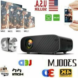 1080P HD 4K Portable 3D LED Mini Video Projector Home Cinema