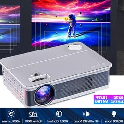 1080P Movie Projector HD LCD Home Theater 6800 Lumens HDMI,V