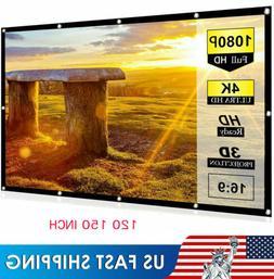 100-150'' Foldable Projector Screen 16:9 HD Anti-Crease Home