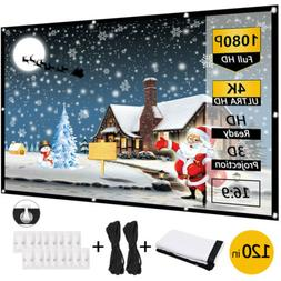 """120"""" Extra Thick HD Projector Screen 16:9 Home 4K Movie Thea"""