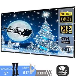 120 Inch 16:9 HD Projector Screen, P-JING Portable Widescree