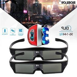 2pcs 3D DLP-Link Active Shutter Glasses 96-144Hz for Optoma/