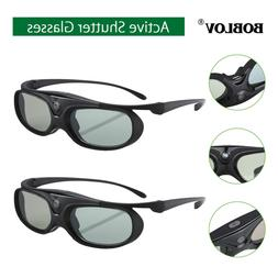 2x Active Shutter 3D Glasses Home Movie For DLP-LINK Project