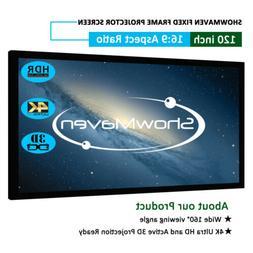 4K 120 inch Fixed Frame 16:9 Projector Screen Velvet Matte 3