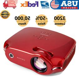 3D Portable LED Projector HD 1080P 3200Lumen HDMI/USB/SD/AV