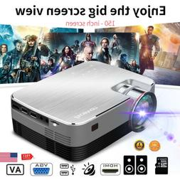 "4"" LED Projector 5000 Lumens 1080P HD Touch HDMI VGA AV USB"