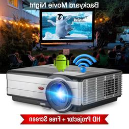 4000lms Android LED Projector Home Theater Video HDMI USB Wi