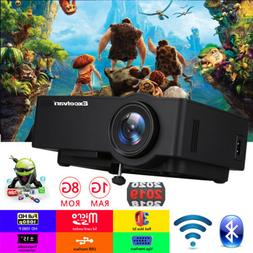4K 3D 1080P Video Wireless WIFI Android 6.0 LED Projector Bl