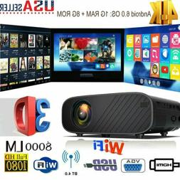 4K 3D WiFi Wireless LED Projector Android 6.0 BT 1080P HD Sm