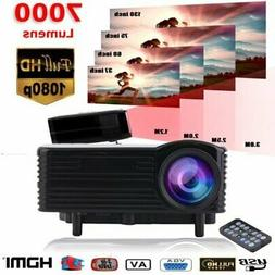 4K HD 1080P 7000 Lumens LED LCD Projector Home Theater PC AV