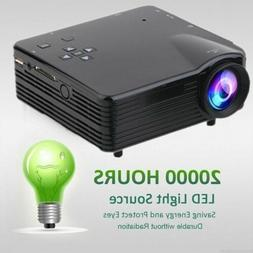 7000 Lumens HD LED LCD Projector Home Theater PC AV TV VGA U