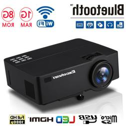 4K HD Smart Android 6.0 LED Projector Video WIFI Bluetooth H