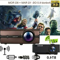 4K 3D WiFi 1080P HD Smart LCD LED Projector Android BT Wirel