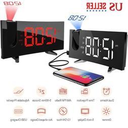 5'' Digital LED LCD Projector Snooze Timer Alarm Clock FM Ra