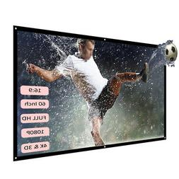 """H60 60"""" Portable Projector Screen HD 16:9 Video Projection"""
