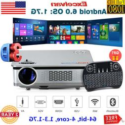 Excelvan 6400LM LED 1080P Projector WIFI Bluetooth 64-bit 4-
