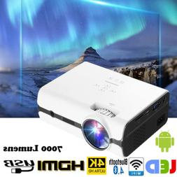 7000 Lumens 4K WiFi Android 7.0 Bluetooth 3D LED Projector H