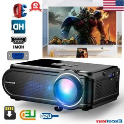 7000 Lumens Mini HD LED Projector Home Theater 1080P USB HDM