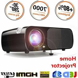 7000LM 1080P Full HD 3D Wifi LED Micro 4K Projector Home The