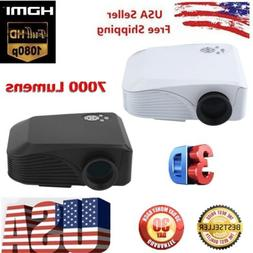 7000LM 1080P Full HD TFT LCD Smart 3D Projector LED USB Home