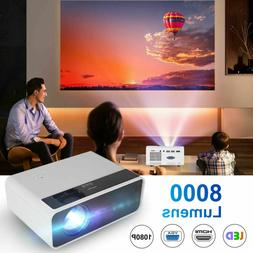 8000 Lumens LED Projector Video 2000:1 HD 1080P Home Theater