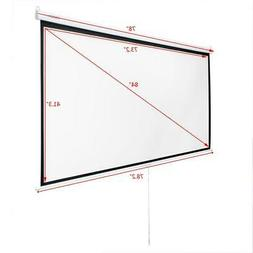 Leadzm 84 Inch HD Pull Down Manual Projector Screen Projecti