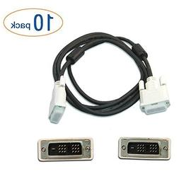 DVI to DVI LCD Monitor Cable 6 Foot - 10 Pack