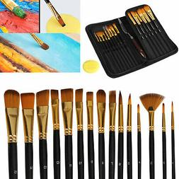 15pcs Artist Paint Brushes Set+Storage Bag Acrylic Oil Water