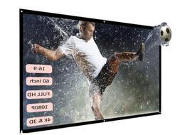 "H60 60"" Portable Projector Screen H D 16:9 White Dacron Vi"