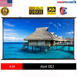 "120"" Diagonal 16:9 Projection Projector Screen HD Manual Pul"