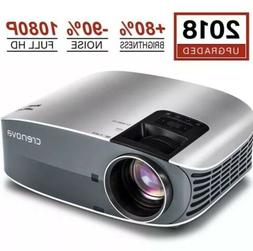 "HD Projector, 2018 Upgraded Crenova 200"" 1080P HD Home Porta"