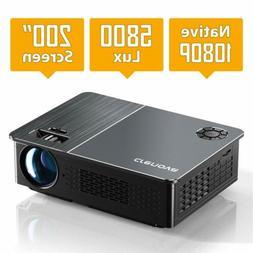 Crenova HD Video Native 1080P Projector 5800 Lux LED Movie P