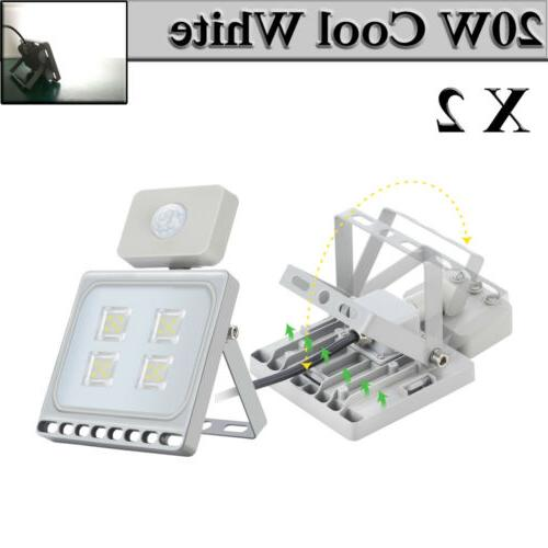 2X LED Flood Lights 20W Motion Sensor Cool White Outdoor Lig