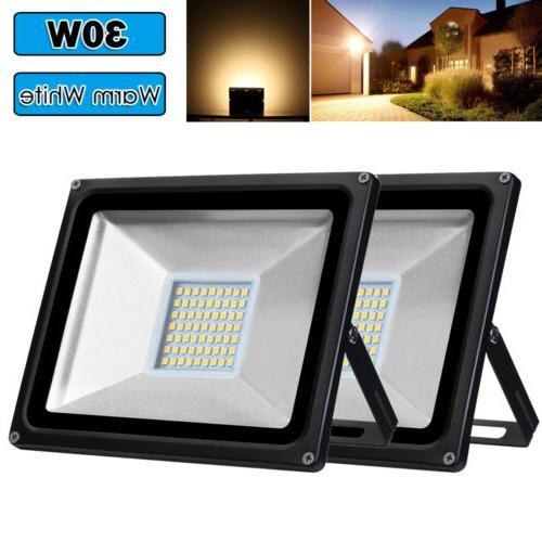 2X 30W Warm White LED Flood Light Outdoor Garden Lamp Lighti