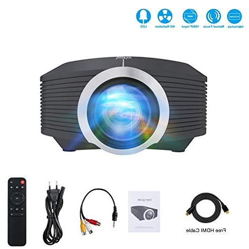 DeepLee Mini Projector, Home Video Projector with USB SD Card for Cinema Video Game Courtyard Movie Night Laptop Xbox