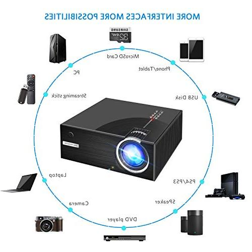 2019 Mini HD and 176'' Display Portable Projector 50,000 Hrs Life, Multiple Ports by