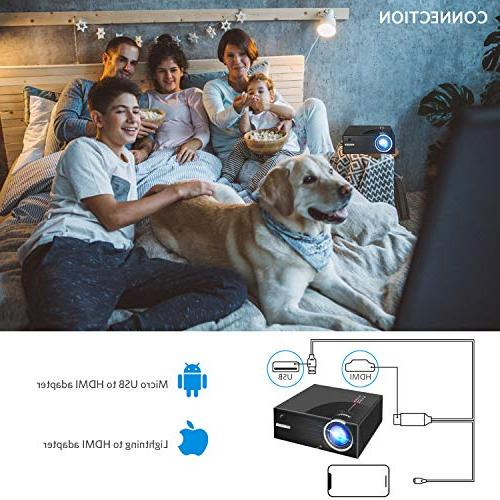 2019 Mini Projector, HD Display 2500 Portable 50,000 Hrs Life, Compatible HDMI/VGA/AV