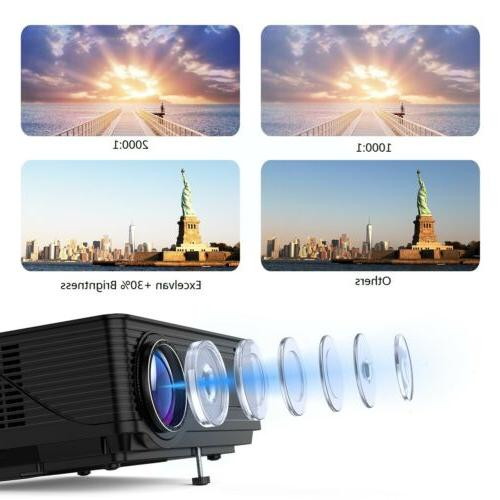 1080P HD Projector Home 7000 Lumens 3D Multimedia