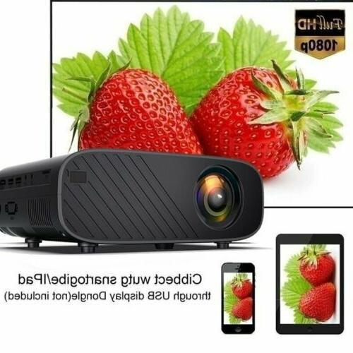 1080P WiFi Bluetooth 3D LED Mini Projector Home Lumens 4K