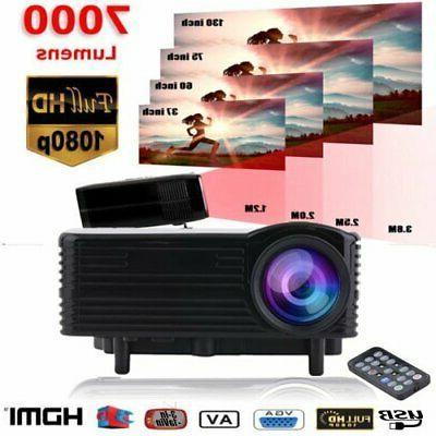 USA 1080P 7000 Lumens Home Theater TV VGA USB BB