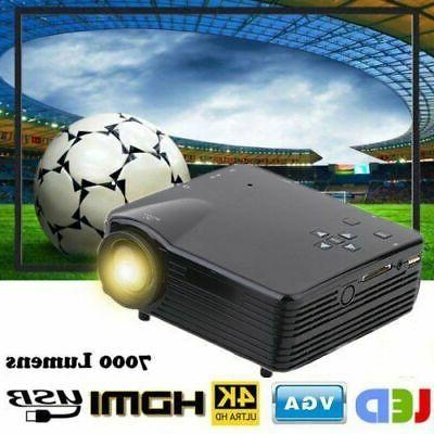 7000 LCD Projector PC TV VGA USB Stock BT