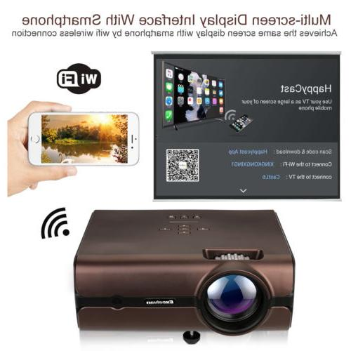 4000 Lumens WiFi Wireless LCD LED Projector Android 6.0 8G B