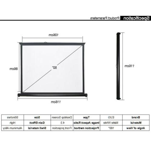 50'' Projector Screen 4:3 Home Theater Tabletop
