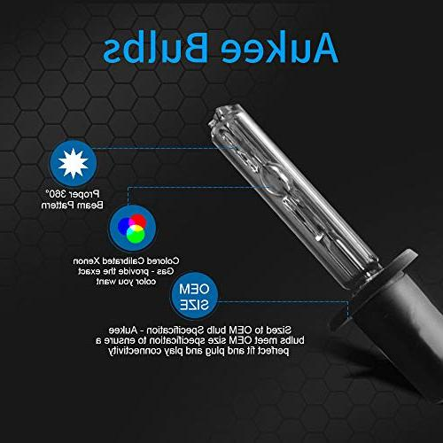Aukee H1 HID Xenon Conversion Kit Headlight Bulbs with Canbus Ballast No 6000K Cold White