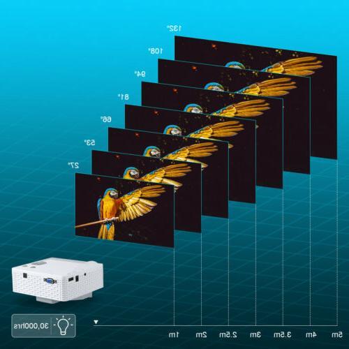 Mini Home Theater Projector 1080P HD 3D HDMI Video Movie