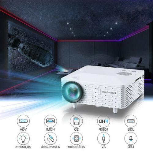 Mini Smart Home Theater Projector 1080P 3D HDMI AV USB Video Movie
